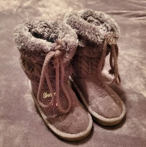 Skechers girls knitted faux fur boots